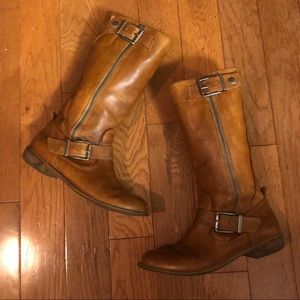 Gianni Bini Tan Mid Calf Leather Zipper Boots